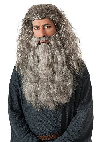 Gandalf The Grey Halloween Costume (Rubie's The Hobbit Gandalf Beard Kit, Gray, One)