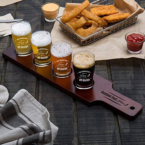 - Personalized Core Beer Flight Set, 4 Beer Pub Taster Glasses with 4-Hole Red-Brown Wood Paddle