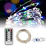 USB String Lights, Umiwe 33ft 100 LED Fairy Light Waterproof Starry Light with Remote Control and Timing Function for Christmas Birthday Wedding Party Patio Celebration and Decoration (Multicolor)