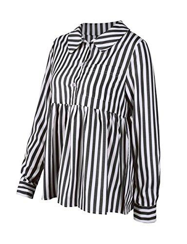 T Revers Shirts Femme Raye Longues Automne Tops Noir Blouse Tee Manches Printemps Shirt Fashion Chemisiers Casual et Legendaryman Haut vwqptPOa