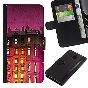 SAMSUNG Galaxy Note 3 III / N9000 / N9005 Modelo colorido cuero carpeta tirón caso cubierta piel Holster Funda protección - Building Night Purple Lights