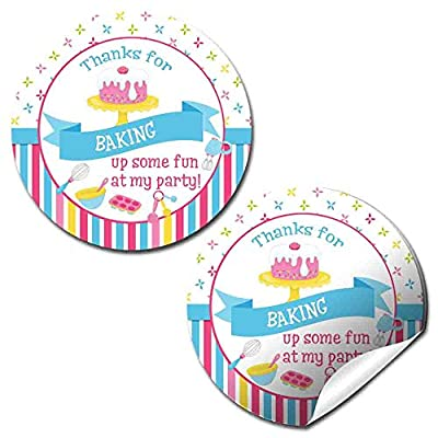 """Baking & Cooking Birthday Party Thank You Sticker Labels, 40 2"""" Party Circle Stickers by AmandaCreation, Great for Party Favors, Envelope Seals & Goodie Bags"""