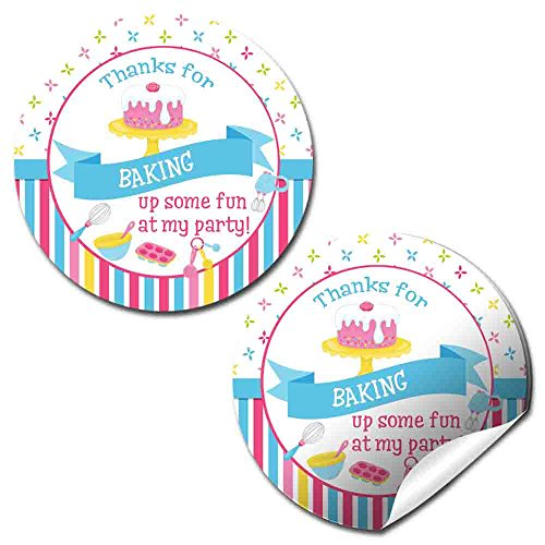 Baking & Cooking Birthday Party Thank You Sticker Labels, 40 2