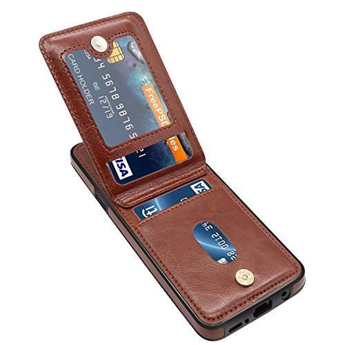 Galaxy S9 Plus Case, Galaxy S9 Plus Card Holder Case, LuckyBaby Premium Leather Folio Flip Galaxy S9 Plus Wallet Case with Credit Card Slots Shockproof Protective Case for Samsung Galaxy S9+ - Brown