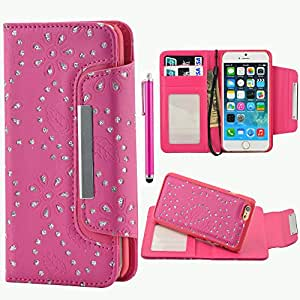 Iphone 6 Plus Case,iphone 6 Plus Leather Case,shiny Bling Glitter Flower Leaf Pattern Premium Pu Leather Wallet Flip Folio Leather Case Pouch and Magnet Detachable Protective Case with Card Slots, Cash Compartment and Detachable Wrist Strap for Apple Iphone 6 Plus 5.5 Inch + Free Screen Protector & Stylus Pen (Hot Pink)