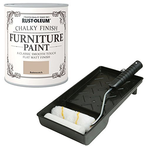 Rust-Oleum Chalky Finish Butterscotch Furniture Paint 750ml Including Mini Roller Set For Easy Application by Rustoleum Butterscotch Handle