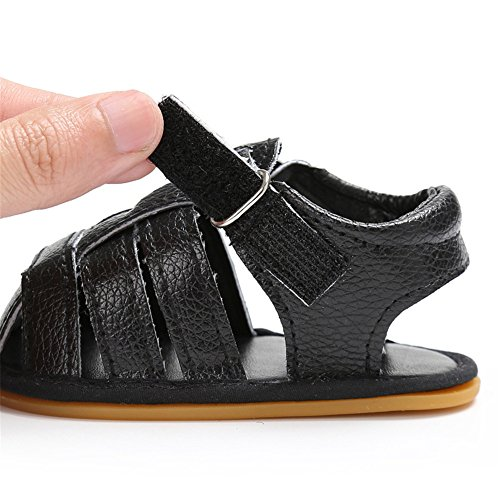 Sandalias de bebé Zapatos de verano para bebés Zapaticos para los primeros pasos Negro