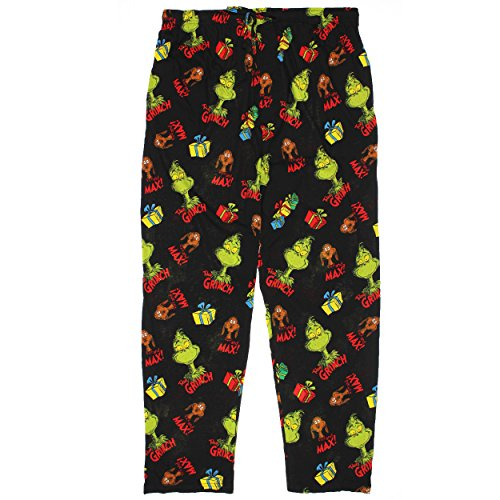 The Grinch Who Stole Christmas Max Mens Lounge Pants (X-Large, Grinch Black)