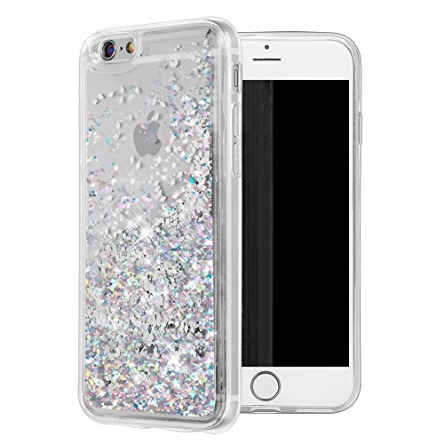 iPhone 6 Case, iPhone 6S Case, WORLDMOM Double Layer Design Bling Flowing Liquid Floating Sparkle Colorful Glitter Waterfall TPU Protective Phone Case for Apple iPhone 6 6s 4.7