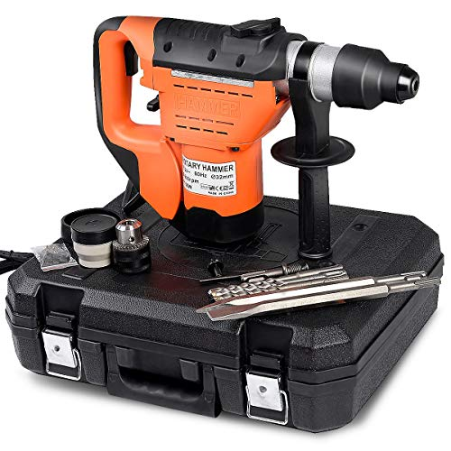 """Goplus SDS Rotary Hammer, 1-1/2"""" 8 Amp Electric Rotary Hammer Drill with Vibration Control, 3 Drill Functions, Plus Demolition Bits, Includes 3 Drill Bits,Point and Flat Chisel with Case"""