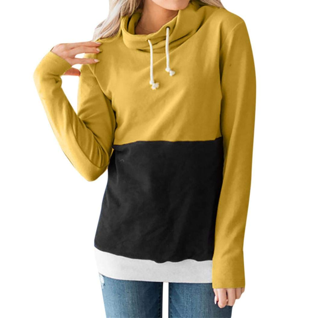 Lmtime Women Fashion Color Block Tops Scarf Collar Sweatshirts Long Sleeve Jumper Pullover Blouse(Yellow,L)