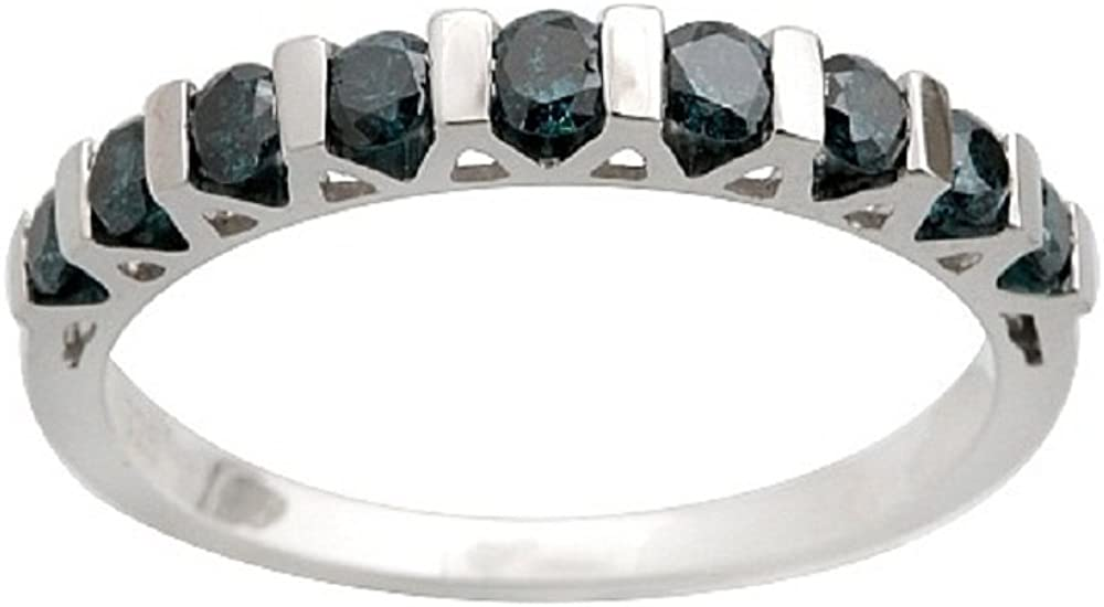 Goldenstar 0.53Ct Blue Natural Diamond Wedding Band 925 Sterling Silver