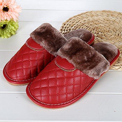 mhgao–Zapatillas de casa de piel sintética en otoño y invierno la cálido interior Zapatillas Rosa roja