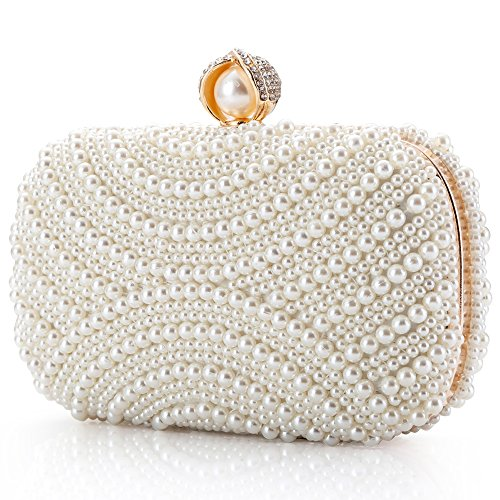 Womens Clutch Luxury Evening Bags Full Beaded Artificial Pearls Handbag for Wedding Parites Prom (A)