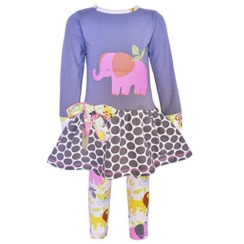 AnnLoren Baby Girls Gray Elephant Jungle Animals Dress Leggings Set - Macys Sizing