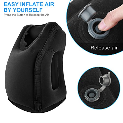 Simptech Inflatable Travel Pillow, Ergonomic and Portable Head Neck Rest Pillow,Patented Design for Airplanes, Cars, Buses, Trains, Office Napping, Camping (Black)
