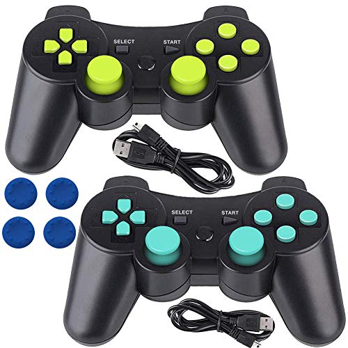PS3 Controller Wireless Gamepad 6 Axis Dualshock 3 Game Remote Control Joystick for Playstation 3 with Charging Cable (Blue-Green) (Six Button Ps3 Controller)