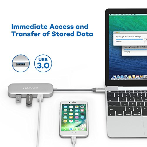 HooToo USB C Hub With Ethernet, HDMI, 100W Power Delivery, 3 USB ports USB C Network Adapter for MacBook Pro & Type C Windows Laptops - Silver by HooToo (Image #5)