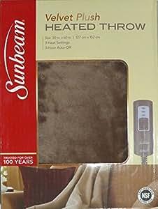 Amazon Com Sunbeam Velvet Soft Plush Heated Throw Blanket