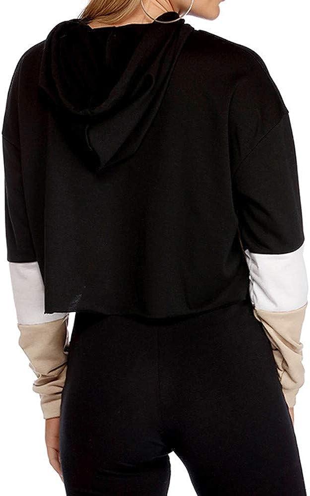 Damen Lange /Ärmel Farbe splitten Sweatshirt Zur Seite Fahren Oberteile O-Ausschnitt Bluse