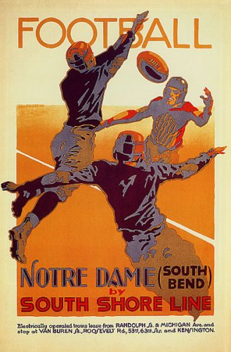 Art Matte Giclee (FOOTBALL NOTRE DAME PLAYERS SOUTH SHORE LINE CHICAGO ILLINOIS VINTAGE POSTER REPRO)