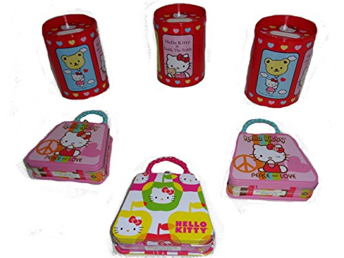 Hello Kitty Tin Coin Bank and Mini Tin Purse Set of 6 - Mini Purse Bank