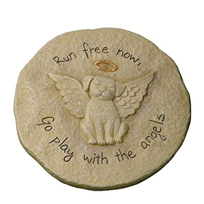 """Grasslands Road Beloved """"Run free now"""" Dog with Halo Remembrance Stepping Stone Plaque : Outdoor Decorative Stones : Garden & Outdoor"""