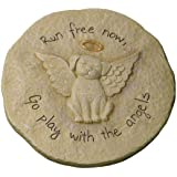 """Grasslands Road Beloved """"Run free now"""" Dog with Halo Remembrance Stepping Stone Plaque"""