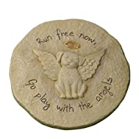 """Grasslands Road Beloved """"Run free now"""" Dog with Halo Remembrance Stepping Stone Plaque (Discontinued by Manufacturer)"""