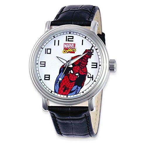 Marvel Adult Size Black Leather Strap Spiderman Watch