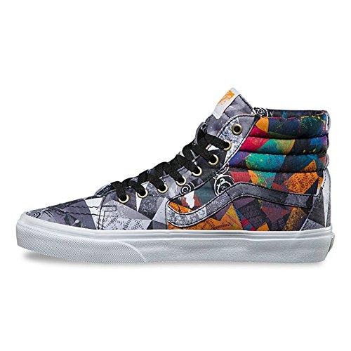 Vans Sk8 Hi Abstrait Multicolore Chaussures De Skateboard Blanc Véritable
