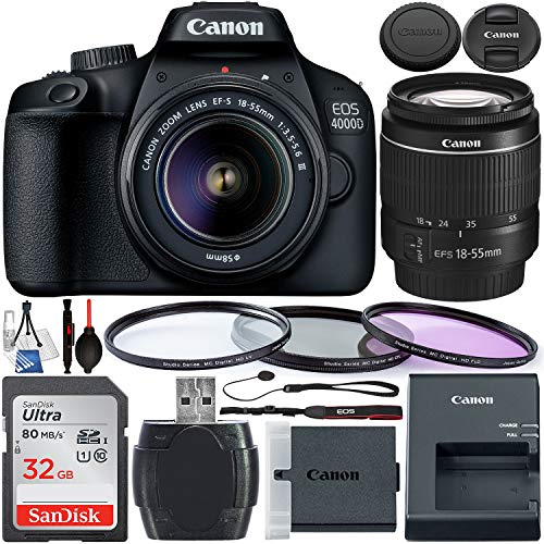 Canon EOS 4000D DSLR Camera with 18-55mm III Lens & Starter Accessory Bundle - Includes: SanDisk Ultra 32GB SDHC Memory Card + 3PC Multi-Coated Filter Set + Memory Card Reader + Cleaning Kit + More (Canon Eos Rebel T3 Digital Slr Camera)