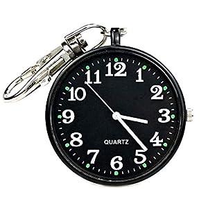 Minimalist Ultra Thin Open Face Quartz Pocket Watch with Key Buckle Unisex Portable Unisex Watch