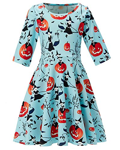 Girl's Witch Pumpkin Print 3 4 Sleeve Aline Dresses Infant Toddler Light Blue Twirly Dress Simple Street Dress Size 4 5 Costume a One-Piece Garment for Girl, Fall -