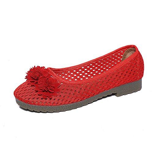 nazionale tendine ricamo Le bovine DYF Red carni scarpe fondo stile donne di piatto Mom nudo vwvxR0q