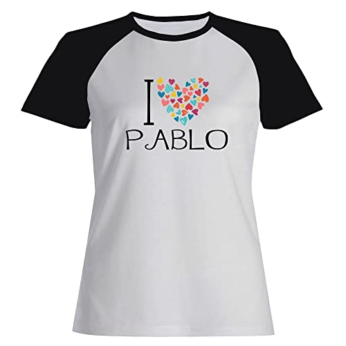 Idakoos I love Pablo colorful hearts - Nomi Maschili - Maglietta Raglan Donna