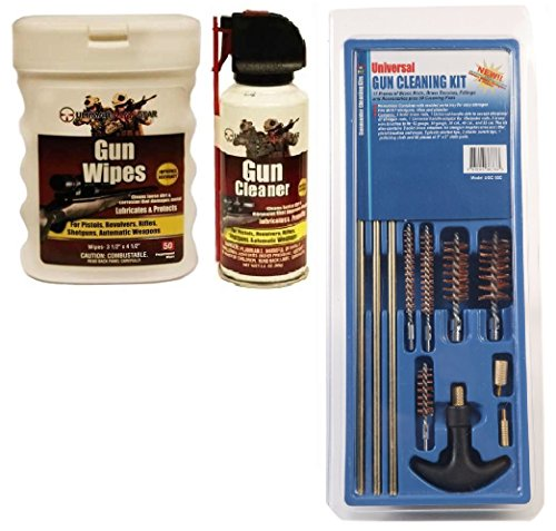 DAC Gunmaster Universal .22cal, .30, .40 Caliber, 12 & 20 GA Gauge 17-Piece Gun Cleaning Kit + Ultimate Arms Gear Gunsmith & Armorer's Gun Cleaning Cleaner Protector Jet Spray Can + Oil Lubricant Pop-Up Wipes