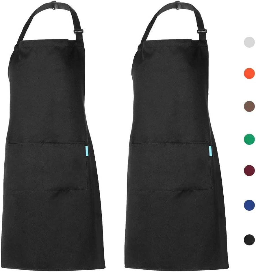 esonmus 2 Pack Adjustable Bib Apron Waterdrop Resistant with 2 Pockets Cooking Kitchen Aprons for Women Men Chef (2 Pack Black, one Size)