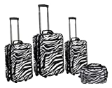 Rockland Luggage 4 Piece Luggage Set, Zebra, One Size