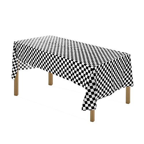 Artthome Gingham Checkered Tablecloth Premium Disposable Plastic Picnic Table Cover 54 Inch. x 108 Inch. Rectangle (12, Black and -