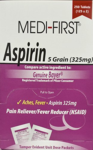 325 Mg 250 Tablets - Medique 2121 Aspirin Tablet, 325mg Packet (Box of 250)