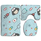 YUSHIHUA Bath Mat 3 Piece Flannel Bathroom Rug Set,Creative Cartoon Medical Shading Seamless Design Shower Mat And Toilet Cover, Non Slip And Extra Soft Toilet Kit, Anti Slippery Rug