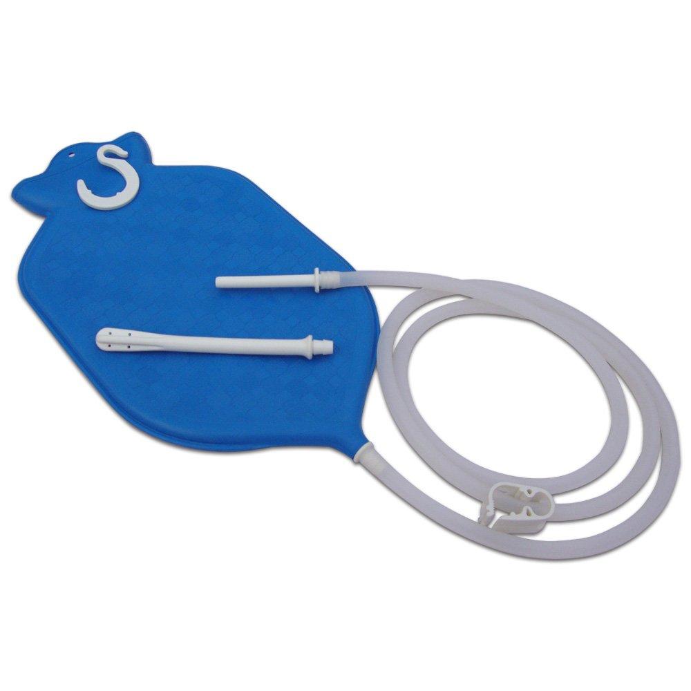 2 cuartos, parte superior abierta HealthGoodsEU Kit de bolsa de esmalte para limpieza de colones con manguera de silicona