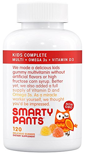 SmartyPants Kids Complete Gummy Vitamins: Multivitamin & Omega 3 DHA/EPA Fish Oil, Methyl B12, Vitamin D3, 120 count (30 Day Supply)