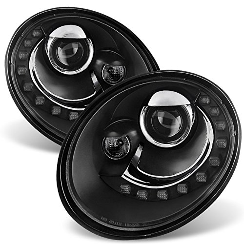 (For VW Beetle Black Bezel DRL Daylight LED Strip Projector Headlights Front Lamps Replacement)