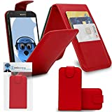 Red PU Leather Executive Vertical Flip Wallet Case Cover Organiser with Credit / Business Card Holder for Sony Xperia Z5 Compact