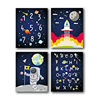 "HPNIUB Outer Space Art Prints Funny Painting, Set of 4 (8""X10"" Solar System,Rocket,Stars,Clouds Canvas Poster, Alphabet Numbers Educational Wall Art for Nursery Classroom Kids Toddlers, No Frame..."