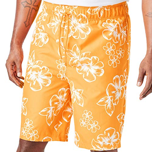 - KingSize Men's Big & Tall Hibiscus Print Swim Trunks, Flame Orange Big-4XL