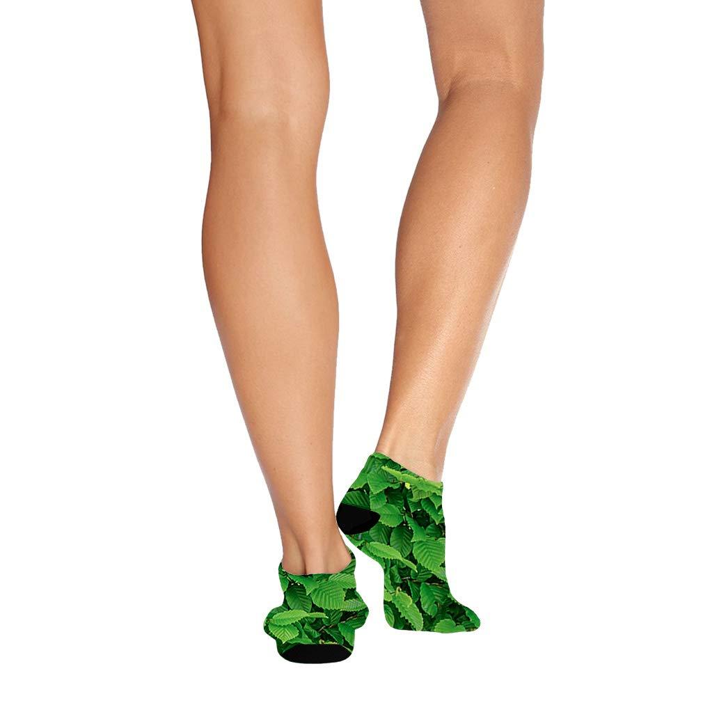 Green Leaves #10 Men-Women Adult Ankle Socks Crazy Novelty Socks