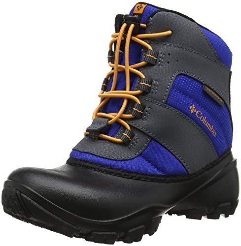 Columbia Boys' Youth Rope Tow III Waterproof Snow Boot, Azul, Orange Blast, 4 Regular US Big Kid ()